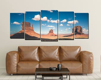 Monument Valley Canvas Wall Art, Buttes Arizona Utah Red Sand Mittens Desert Navajo Print Photo 5 Panel Large Set