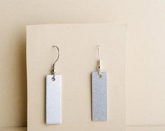 Silver rectangle earrings