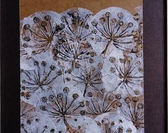 Gold Dandelion lino print