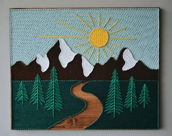 String Art Mountains Wood Mountain Wall Art Wood Art Mountains Wooden Tree Art Bed Wall Decor Home Decor Artwork Big Wood Wall Art Cool Gift