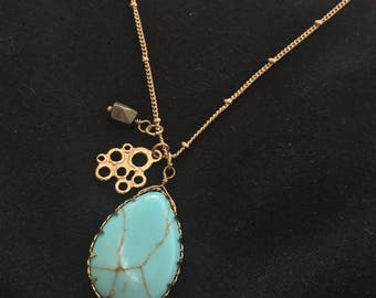 Gold& Turquoise with charm necklace