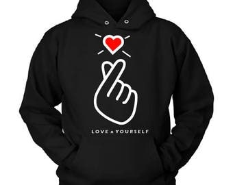 Love Yourself (LYS) Hoodie // Finger Heart Korean Inspired