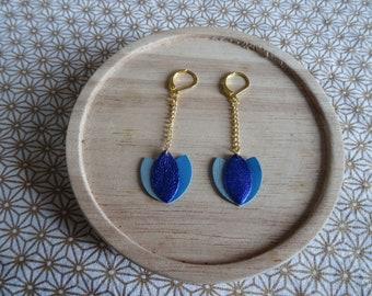 Leather lotus flower earrings