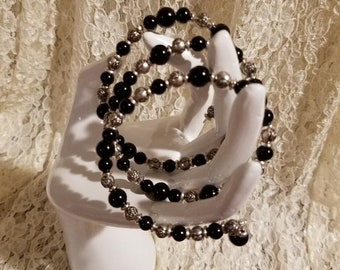 Stunning Black ad Silver Wrap Bracelet