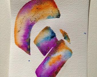 Watercolor colored, orange, blue, purple