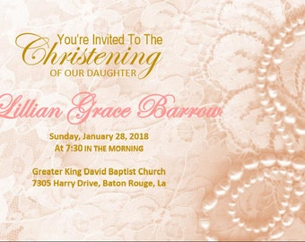 Lace Christening/Blessing Invitation