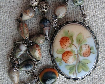 Repurposed Edwardian Brooch to Necklace, Assemblage Vintage Necklace, Garden Lucky Clover Shamrock Necklace Handpainted Porcelain Botanical