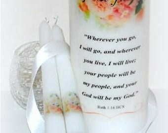 Wherever you go I will go, Ruth 1:16, Messianic wedding unity candle keepsakes, handmade personalized candle set designs underneath the wax