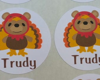 Personalized Turkey Bear Stickers for Back to School, Name labels, cards, etc set of 20