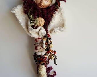 White Birch, Talking Stick, Compassion Spirit, Art Doll, Ethnic Art, ooak Art Figure, Altar Decor, Wall hanging, Dream Catcher, Dream walker