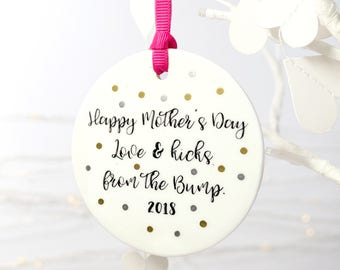 Happy Mother's day from the bump, ceramic keepsake, new baby keepsake, new mummy gift, mothers day keepsake, from the bump, mummy to be