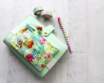Succulents planner cover pouch - cactus pencil bag - cactus planner - BUJO accessories bag - succulents bag - cactus zippered pouch