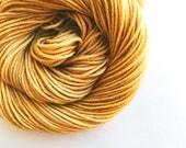 HONEYCOMB hand dyed yarn fingering sock dk bulky yarn super wash merino wool yarn single or ply. you choose your base. honey brown gold