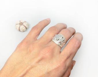 Sterling silver sputnik sea urchin ring - 6.5 US