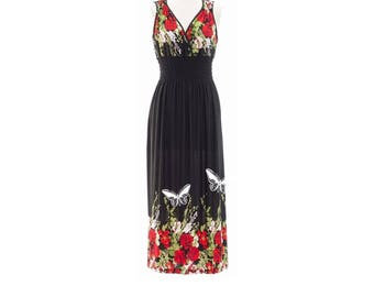 Plus Size Maxi Dress Rose Print Floral Print Dresses Women's clothing Bohemian Long Dresses Boho Romantic Butterfly prints Black and Red