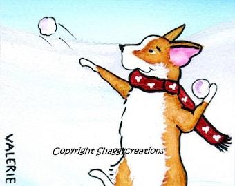 "PEMBROKE WELSH CORGI Art Print Corgi Christmas Corgi Art Print ""Snowball Fight""  Dog Art Dog Lovers Gift Holiday Print Christmas Snow"