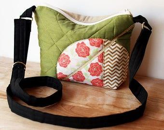 Modern Zen Crossbody Purse 3 - slouchy, handbag, Japanese, bag, chevron, floral, pink, rose, black, olive green, army green, gold, shimmer
