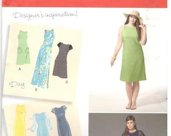 Simplicity 0620 / 1357 Size 20w, 22w, 24w, 26w, 28w Plus size women's pattern: evening or knee length sheath / shift dress, slight a-line