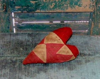 Primitive Heart, Farmhouse Style, Antique Quilt Stuffed Heart, Farmhouse Decor, Rustic Heart, Grungy Red & White - READY TO SHIP