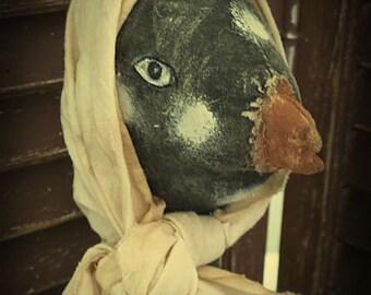 MUSTARD SEED ORIGINALS, Extremely Primitive, Farmhouse, Black, White, Hen, Chick, Chicken. Doll by Primitive Folk Artist Sharon Stevens