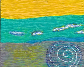 Contemporary Abstract Painting Original Art Gifts Untitled Yellow Teal White Circles