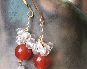 Moonstone and Carnelian ClusterEarrings, Moonstone Cluster Earrings, Orange Carnelian Earrings, Gold Filled Earrings, Gemstone Earrings