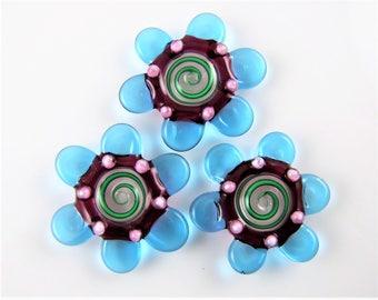 Flower Swirl Glass Disc Beads