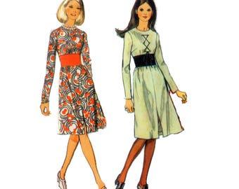 70s Midriff Band Dress pattern Hourglass Dress pattern vintage  36-27-38 Fit and Flare Dress pattern Obi Dress pattern Simplicity 9255