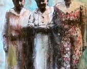 original Painting  portrait elders women friendship mixed media  Heather Murray
