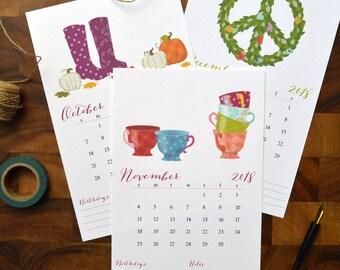 Illustrated 2018 Calendar -- desk calendar, wall calendar