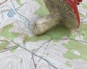 Paper Clay Toadstool // Handmade Ornament // Mushroom Lover
