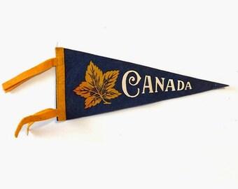 Vintage Canada Maple Leaf Felt Pennant
