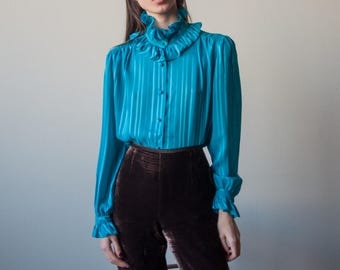 turquoise semi sheer ruffle collar blouse / puff sleeve blouse / striped blouse / s / 3108t