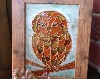 """Owl Glass Art Painting / Unique Design / Owl Art / 7"""" x 9"""" Frame"""