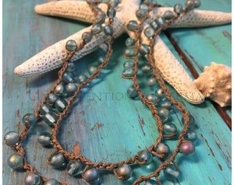 Boho Jewelry, Crochet Necklace, Crochet Bracelet, 5x Wrap Bracelet, Aqua Vitrail and Sterling Silver Crochet Bracelet5x/Necklace