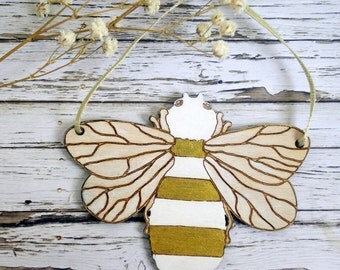 Bee wood Christmas tree ornament / decoration, hand-painted in gold & white.  Manchester symbol. Modern, fun, quirky, unusual