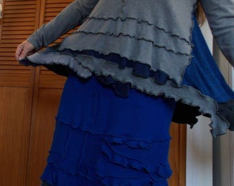 Super Flare Ruffle Tunic Sweater Patchwork L Large XL Recycled Wool Eco Friendly Earthy Blue Gray