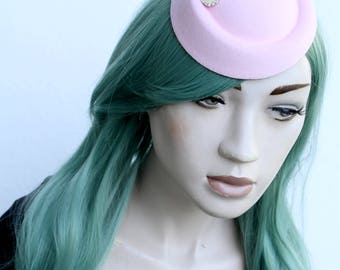 Baby Pastel Pink Mini Side Hat With Feathers and Pearl Diamante