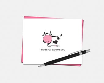 Valentines Day Cards - I Udderly Adore You Card - Cheesy Valentines Day Cards - Love Card  - Cow Pun - Valentine's Day Card for Him
