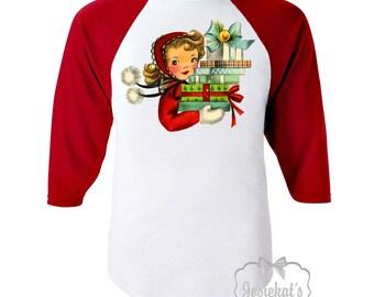 Girls Christmas Shirt -Toddler Christmas Shirt - Retro Merry Christmas Shirt - Girl with Presents Tee - Red White Baseball - Girl Gift