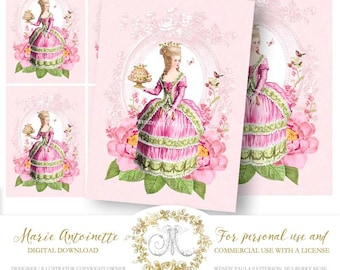 Marie Antoinette gift tags, cards, high tea, printable, instant digital download, French, vintage, for personal and commercial use