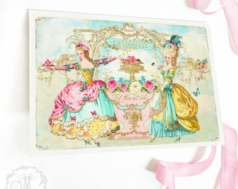 Marie Antoinette let them eat cake card, birthday card, card for her, friendship card, bakery card, blank inside