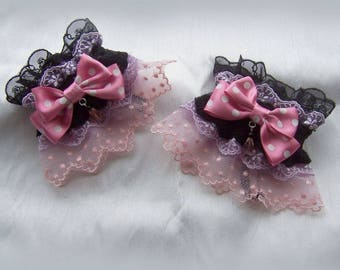 POLKADOT RIBBON BOW Lace Wrist Cuffs