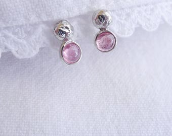 Recycled Sterling Silver Nugget Stud Earrings with Pink Tourmaline