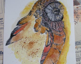 Original, Handmade, Owl Watercolor, Owl Painting, Owl Original, Owl Pen n Ink, Orange owl, Yellow owl, Owl Drawing, Owl Art, Wildlife Owl