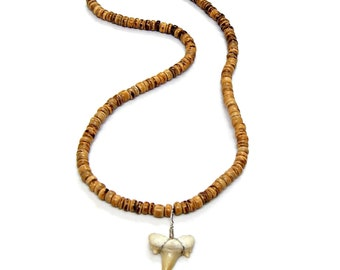 Fossil Shark Tooth Necklace Great Sharks Teeth Coconut Bead SUP SURFERS HAWAIIAN 7029M