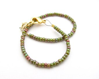 Holiday Friendship Bracelet, Green Luster Dainty Layer Stacking Bracelet, seed bead bracelet, beaded bracelet, Gift for Teen Tween Daughter