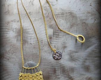 On Sale, Artist Necklace, Ruffles, Crocheted Lace, Havest Gold, Dark Gray Stone, Handmade, Nature, Bohemian, Original, Monicaj