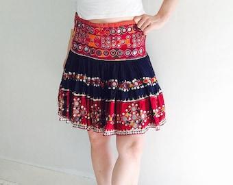 Vintage Banjara Tribal Mirror Work Mini Skirt Belly Dance Kuchi Rabari