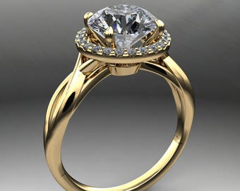 willow ring - 1.9 carat round NEO moissanite engagement ring, halo engagement ring